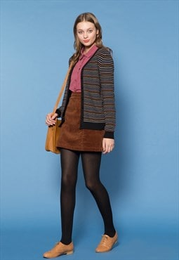 Black Colour-Stripe Cardigan