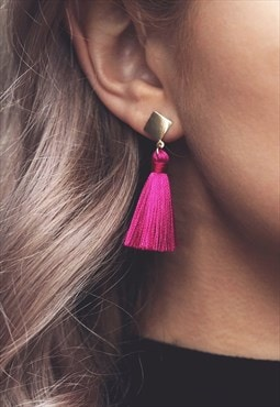GABBY. Mini Silk Tassel Drop Earrings - Fuchsia