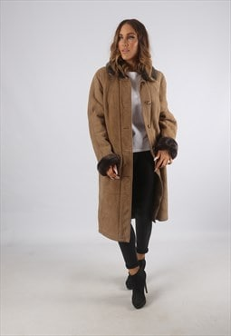 Vintage Sheepskin Suede Shearling Coat Mid Long UK 14 (93O)