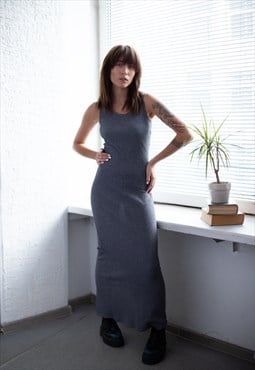 Vintage 90's Maxi Grey Ribbed Dress