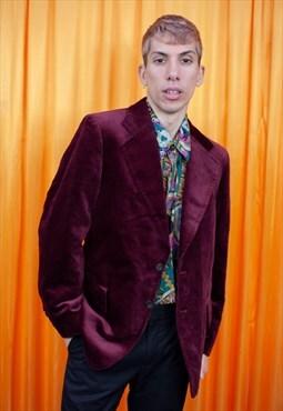 Vintage 80s Blazer Jacket Maroon Burgundy Velvet Suit