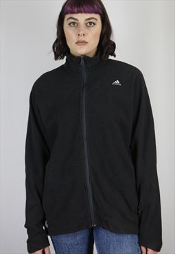 Vintage Adidas Zip Fleece Jacket in Black in Size M/L