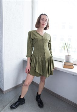Vintage 80's Mini Khaki Textured Long Sleeved Dress