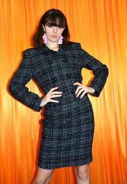 Vintage 80s Skirt Suit Black White Checkered Blazer Co Ord
