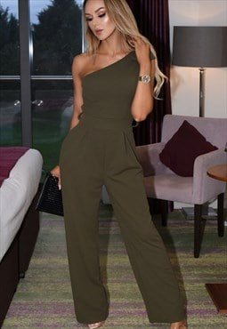 Riah Bow Detail One Shoulder Style Jumpsuit in Khaki