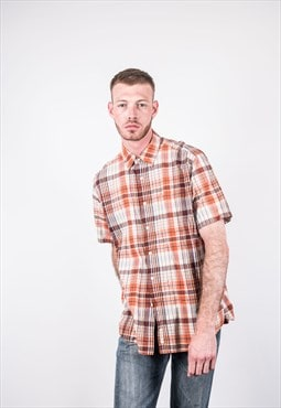 Vintage Eddie Bauer Shirt in Orange and Brown Checks