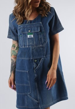 Vintage Denim Dress BICH REWORKED Dungarees UK 10 - 12 (DDI)