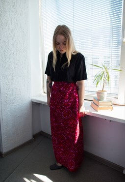 Vintage 70's Pink/Red High Waisted Maxi Skirt