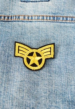 Yellow black star iron on patch