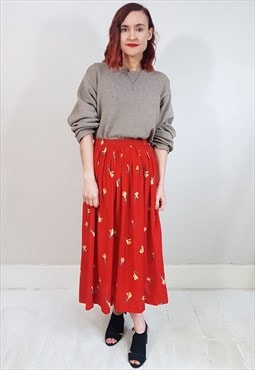 Vintage 80's Red Floral Polka Dot Midi Skirt