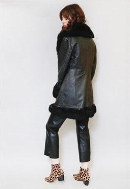 Vintage 1980's Premium Black ETI Shearling Coat