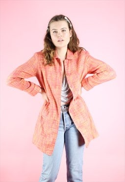 Vintage 90s Y2K Peach Orange Trench Coat Jacket
