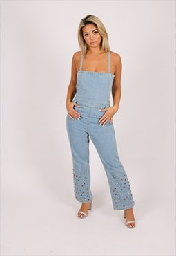 Gemstone denim jumpsuit with kickflare and gemstones