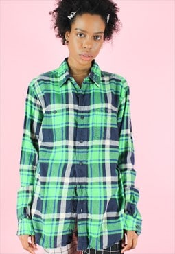 Vintage 90s Flannel Shirt Y2K Lime Green Neon Check Tartan