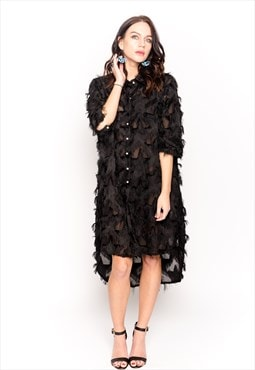 Feather Tassel Look Embroidered print oversize shirt dress