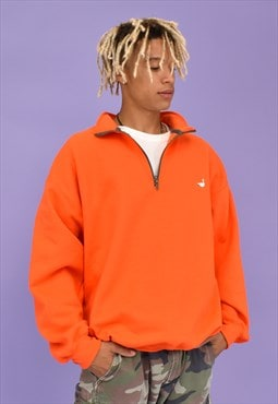 G&G Unisex Orange 1/4 Zip Goose Sweat