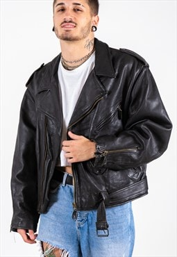 Vintage 80s Leather Jacket / S6911