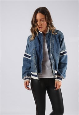Denim Jacket 90's Bomber Oversized Striped UK 12 (BJDD)