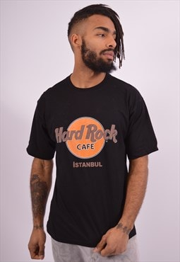 Hard Rock Cafe Vintage Istanbul T-Shirt Top Medium Black 90s