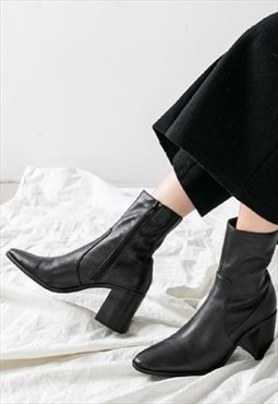 Genuine Leather Ankle Heeled Boots in Black