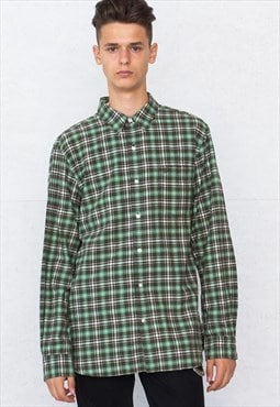 Vintage Green TIMBERLAND Long Sleeve Checkered Flannel Shirt