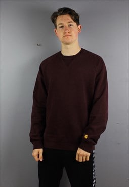Vintage Carhartt Work Sweatshirt in Burgundy with Embroidery