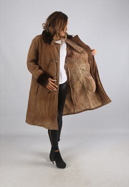 Vintage Sheepskin Suede Shearling Coat Mid Long (C9BO)