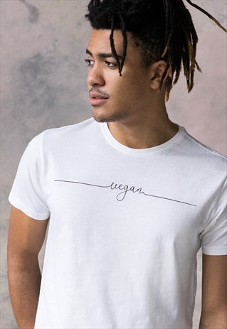 Vegan T Shirt Subtle Print Design Typography White Tee Men