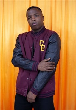 Vintage 90s Baseball Jacket Burgundy Black Leather Sleeve