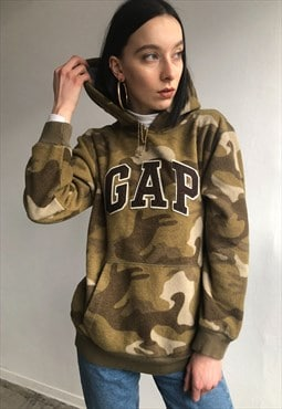 Vintage GAP unisex green camouflage hooded fleece