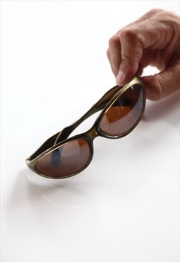 Vintage Olive Green Frame, Brown Lenses