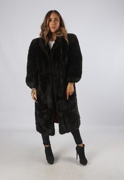 Vintage Faux Fur Coat Jacket Mid Long UK L 14 (9BI)