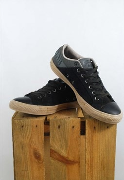 Suede Leather Converse Trainers Navy Blue