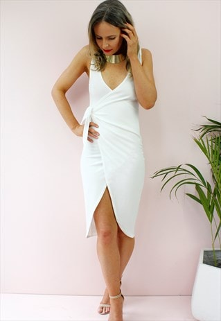 WHITE WRAP AROUND FRONT TIE BODYCON MIDI DRESS