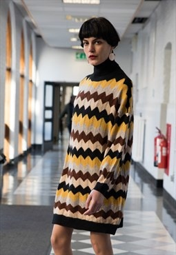 Multi color stripe soft knit oversized jumper dress