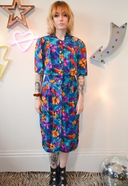 Vintage 80's Bright Flower Print Button Up Midi Dress