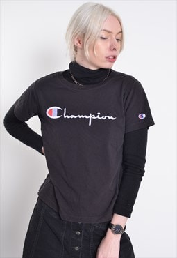 Vintage Champion Embroidered Logo T-Shirt Black