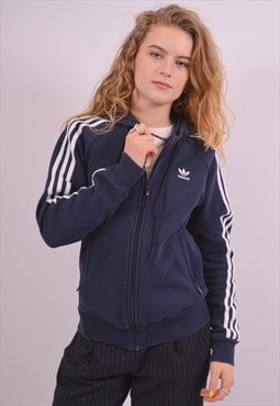 Adidas Womens Vintage Hoodie Sweater Small Navy Blue 90s