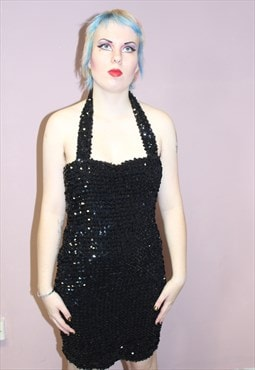 Vintage Sparkly Black Halterneck Cocktail Dress christmas