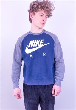 Vintage Nike Sweatshirt Spell Out Blue Grey Large