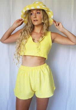 Yellow towelling croptop