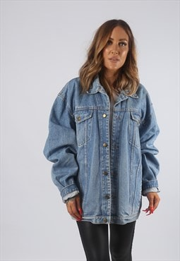 Vintage Denim Jacket Oversized Fitted UK 18 XXL (8BF)