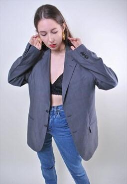80s grey oversize minimalist women vintage blazer, ONE SIZE