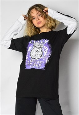 Y2K Black Purple Snake Graphic Grunge Long Sleeve Shirt