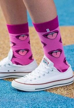 Pink Mouth, Lips & Tongue Purple Violet funny Socks for girl