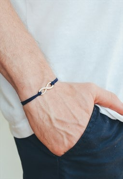 Silver infinity bracelet for men blue cord adjustable yoga
