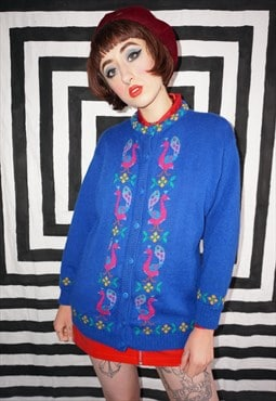 Vintage 90s Bright Blue Colourful Peacock Pattern Cardigan