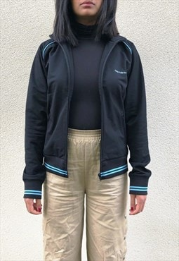 Vintage Carhartt Track Jacket Black And Blue Womens Small