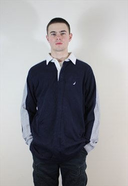 Vintage 1990s Grey and Navy Nautica Rugby Sweatshirt