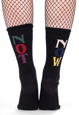'Vacant' Black Slogan Socks